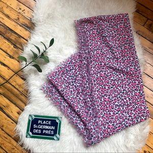 Long versatile pink grey white leopard print scarf